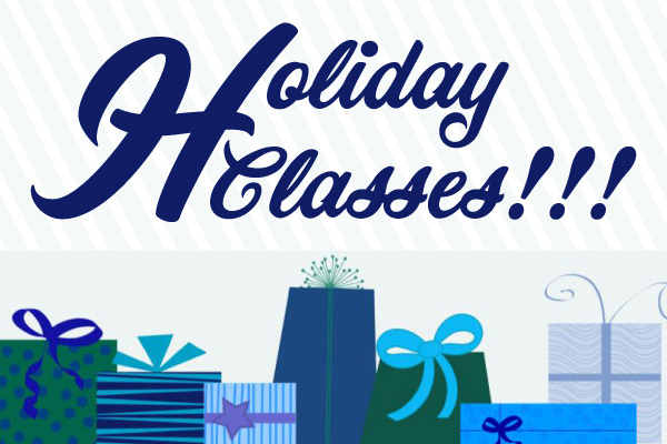 Holiday Classes Graphic with link to download Flyer